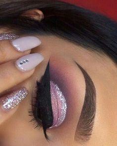 makeup, nails, and pink kép
