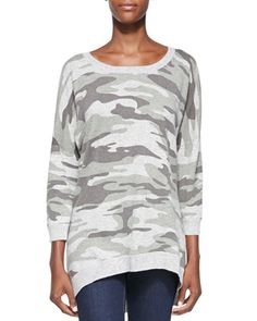 Camouflage Cashmere High-Low Pullover  by Sofia Cashmere at Neiman Marcus.