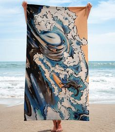 Artist designed surfer towel. This reminded her of the days she would go to the beach and watch the surfing competitions! She's got style. California Surf, Skate Surf, Surf Style, Surfs Up, Ocean Beach, Beach Towel, Surfing, Cover Up, Watch