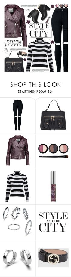 """""""Cool-Girl Style: Leather Jackets"""" by beebeely-look ❤ liked on Polyvore featuring W118 by Walter Baker, Forever 21, Urban Decay, Gucci, StreetStyle, stripes, leatherjackets, streetwear and gamiss"""