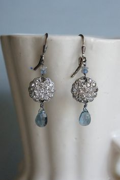 Vintage assemblage earrings London blue topaz briolettes labradorite rhinestones assemblage jewelry -  by French Feather Designs.