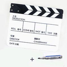 Cheap Acrílico Clapper Board con una ambos en chino e inglés blanco y negro claqueta de película acción pizarra película claqueta, Compro Calidad Accesorios de Estudio Fotográfico directamente de los surtidores de China:               Bienvenido A Ying Nuo accesorio fotográfico Limited tienda, hay muchos estilos diferentes de equipo fotogr