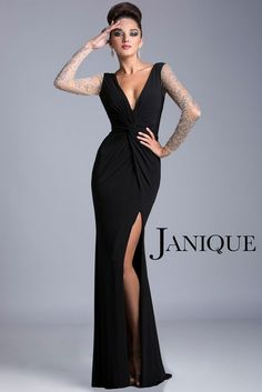 Project a sultry charm with the crystal beaded illusion spanning the back and long sleeves of Janique K6406 mother of the bride dress. This column ensemble takes off with a V-neckline, highlighting a luscious dŽcolletage together with the tight knot in the midsection. The fitted silhouette tapers down the thighs, flaring at the apex of the thigh-high slit that graces the floor length skirt, extending with a sweep train. Perfect for any black tie event.
