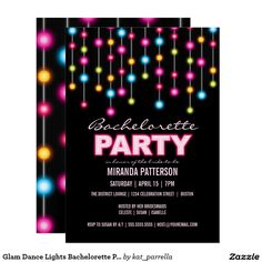 Glam Dance Lights Bachelorette Party Invitation