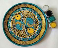 Madhubani Paintings Peacock, Madhubani Art, Indian Art Paintings, Mural Painting, Ceramic Painting, Silk Painting, Traditional Paintings, Traditional Art, Turkish Plates