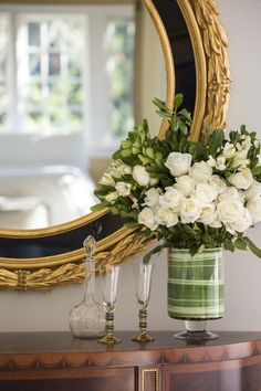 mirrors | beautiful details of hand-crafted Italian mirror and inlaid cabinet