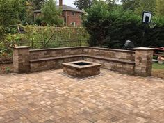 Light up the night with a Cambridge Pavingstones with ArmorTec Fire Pit Kit! Installation: Designs by Longo