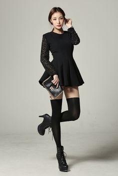 kpopsicle.com #fashion #style #kpop Floral Lace Long Sleeve Mini Dress - Dresses - Apparel - Genuine Korean style fashion from Korea