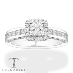 This exhilarating engagement ring from Tolkowsky® showcases a Princess Ideal Cut Diamond, framed in round diamonds. Sparkling princess-cut diamonds are channel-set into the band, for a total diamond weight of 1 carats. The ring is crafted of white gold. Ideal Cut Diamond, Diamond Cuts, Gemstone Jewelry, Diamond Jewelry, Princess Cut Diamonds, Diamond Stone, White Gold Rings, Ring Designs, Fashion Rings