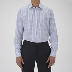 Turnbull & Asser Blue Textured Check Shirt With T&a Collar And Double Cuffs - 16.5