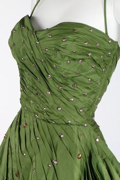 Kerry Taylor Auctions, 9 Dec 2014 // Lot 105 : A Norman Hartnell couture green taffeta ball gown, early 1950s.