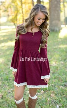 The Pink Lily Boutique - Just The Sweetest Dress Burgundy , $42.00 (http://thepinklilyboutique.com/just-the-sweetest-dress-burgundy/)
