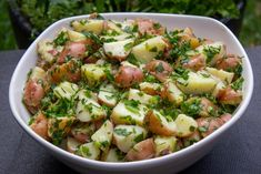 Herb potato salad is a perfect light summer side dish that's quick and easy to make. Lemon Potatoes, Baby Potatoes, Vegan Gluten Free, Vegan Vegetarian, Summer Side Dishes, The Dish, Potato Salad, Salads, Herbs