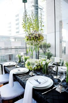 Modern Chic Black, White & Green Inspiration in - lots of great vendors! via - Wedding Day Pins : You're Source for Wedding Pins! Modern Centerpieces, Wedding Centerpieces, Wedding Table, Wedding Decorations, Table Decorations, Tall Centerpiece, Masquerade Centerpieces, Wedding Dinner, Wedding Reception
