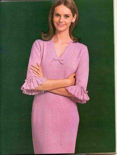 Knit Pattern  VNeck Dress with Ruffle Sleeves by suerock on Etsy, $4.25