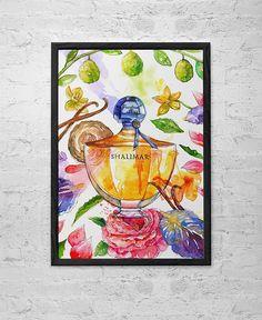 Shalimar Perfume Watercolor Illustration Archival Art Print