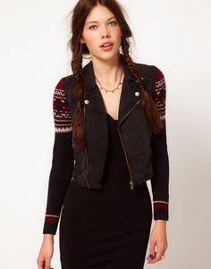 b + ab Denim Jacket With Knit Sleeve
