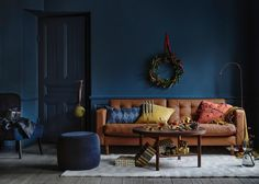 〚 Wonderful Christmas interiors in dark blue by IKEA 〛 ◾ Photos ◾Ideas◾ Design Ikea Inspiration, Sofa Design, Interior Design, Ikea Landskrona, Best Leather Sofa, Unique Sofas, Ikea Living Room, Houses, Living Room
