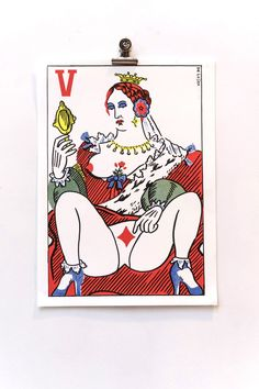 Queen of Diamonds - A4 Risograph print - Jeroen de Leijer via Wobby.club. Click on the image to see more!