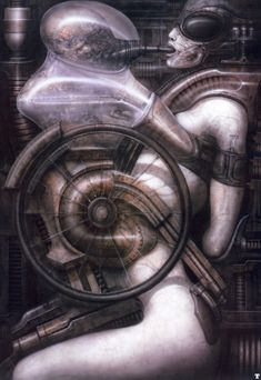 H. G. Giger - Nr. 308, Biomechanoid,  Acryl and paper, 100x70 cm,  1976 - unusual to say the least ?