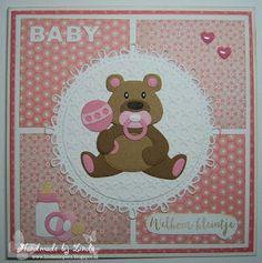 Vandaag laat ik jullie nog een baby-kaart zien. Deze keer heb ik de leuke beer van Eline gebruikt. Zie de beer daar eens lief zitte...