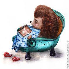 Купить Сказки на ночь - комбинированный, ежик, сказка, Сказки, малыш, ребенок, ночь, иллюстрация