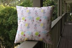 Cushion cover  pink bunny print  with zip fastening. by turvytopsy #EtsyRabbits