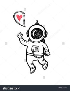 Vector Illustration With Doodle Astronaut - 391379470 : Shutterstock