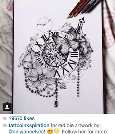 Awesome floral tattoo. Really like the butterflies and the clock