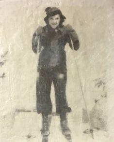 Vintage Skier encaustic painting by Lee Anne LaForge Bear Paintings, Cute Paintings, Outdoor Rink, Sports Painting, Cast Glass, Encaustic Painting, Canadian Artists, Painted Doors, Winter Landscape