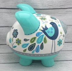 Personalized Piggy bank Turquoise navy grey and by Alphadorable Pebble Painting, Pottery Painting, Pig Bank, Personalized Piggy Bank, Color Me Mine, Fingerprint Art, Peacock Design, Crafty Kids, Hand Painted Ceramics