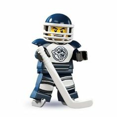 """Lego Minifigure Series 4 Hockey Player by LEGO. $10.95. WILL SHIP AS SOON AS POSSIBLE. BRAND NEW. IN HAND. NOT A PRE SELL. """"Grrrr!"""" Raised by wild wolves out on the frozen tundra until he was discovered by a traveling sports agent, the Hockey Player quickly proved to have a natural talent at the fierce and fast-paced sport of ice hockey. Whether he's chasing the puck across the rink or guarding his team's home goal, he's dedicated to one thing and one thing alone: winning the g..."""