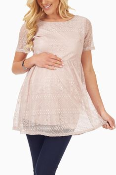Beige Lace Maternity Tunic #maternity #maternityclothes #cutematernity