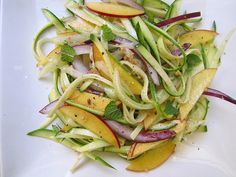 zuchinni ribbon salad with cucumber and nectarine-- i would cut out the red onion and replace mint with basil