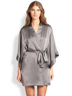 Josie Natori Silk Kimono Robe in Gray (GREY METAL) | Lyst