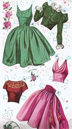 Prom Time Cut-Outs, 1962 Whitman of Paper Dolls Clothing, Barbie Paper Dolls, Vintage Paper Dolls, Doll Clothes, Paper Doll Craft, Doll Crafts, Paper Toys, Paper Crafts, Paper Dolls Printable