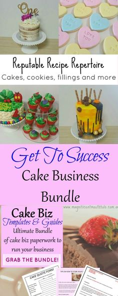 Ultimate Cake Business Bundle | The ��Get To Success�� Ultimate Cake Business Bundle includes: *An eBook filled with useful information, tips and tricks to make your cake business successful *A recipe book with over 20 tried and tested recipes *An eBook of