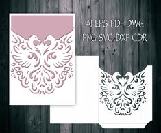 Romantic Swan Couple Wedding Invitation Pocket Envelope 5x7