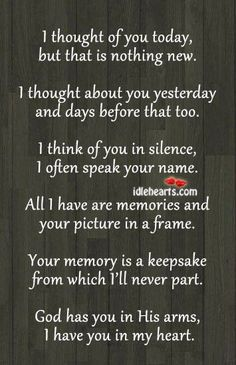 Suppose to be for a memory table at a wedding but I could see also making a memory wall in the home. This poem framed with pictures of family members/friends who have passed away.: