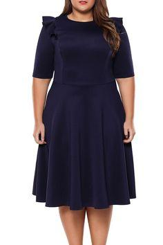 Chic Navy Frill Sleeve Plus Size Skater Dress ChicLike.com