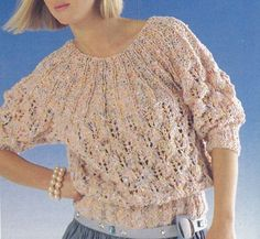 Vintage Knitting Pattern Instructions to Make Ladies Lace Jumper Sweater