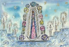 "At the altar, a painting of Our Lady of Guadalupe welcomes visitors where they often place photos, candles and mementos. ""The Mission in the Sun is a place for remembering. A place in which to begin to believe."" – DeGrazia #DeGrazia  #GalleryInTheSun #Guadalupe #PadreKino #Frescoes #Watercolors"