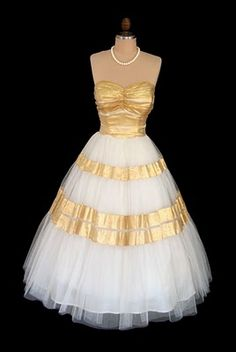 Gold and Ivory Chiffon Gown by Emma Domb