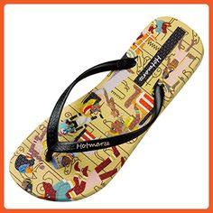 53c9a9d40be9b Hotmarzz Women s Fashion Flat Flip Flops Tribes Print Summer Beach Slippers  Thong Sandals Size 4 -