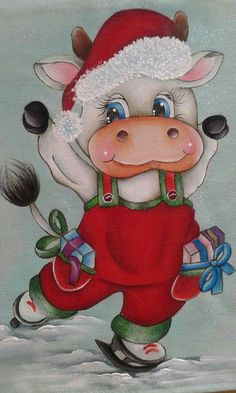 Christmas Drawing, Christmas Paintings, Christmas Art, Vintage Christmas, Christmas Ornaments, Vintage Santas, Cow Painting, Fabric Painting, Baby Animal Drawings