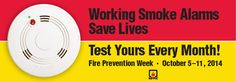 It's Fire Prevention Week! When's the last time you checked the smoke alarms in your home? Get educated on fire safety from the National Fire Protection Association (NFPA). Fire Prevention Week, Injury Prevention, Fire Safety Tips, Safety Week, Smoke Damage, Fire Sprinkler, Get Educated, Smoke Alarms, Disaster Preparedness