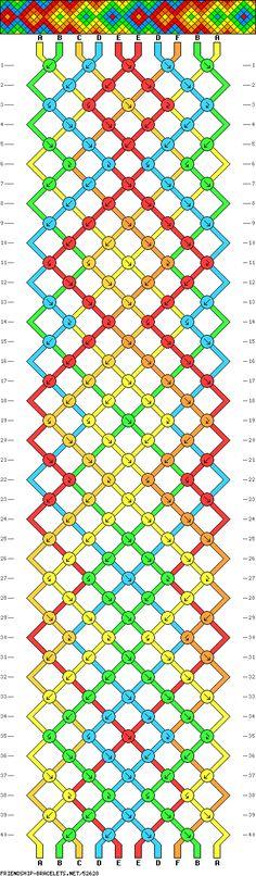 friendship bracelet patterns - 10 strings 6 colors