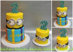 Minion cake with coordinating smash cake for a 2nd birthday.