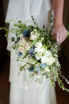 Whimsical Natural Wild Bouquet Flowers Bride Bridal Thistle White Green Quaint Rustic Seaside Windmill Wedding Norfolk www.fullerphotogr...