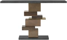 Tessera Console  In aged Bronze, Brass and Copper finishes with a Nero Assoluto stone top and plinth.   1500mm x 350mm x 850mm h